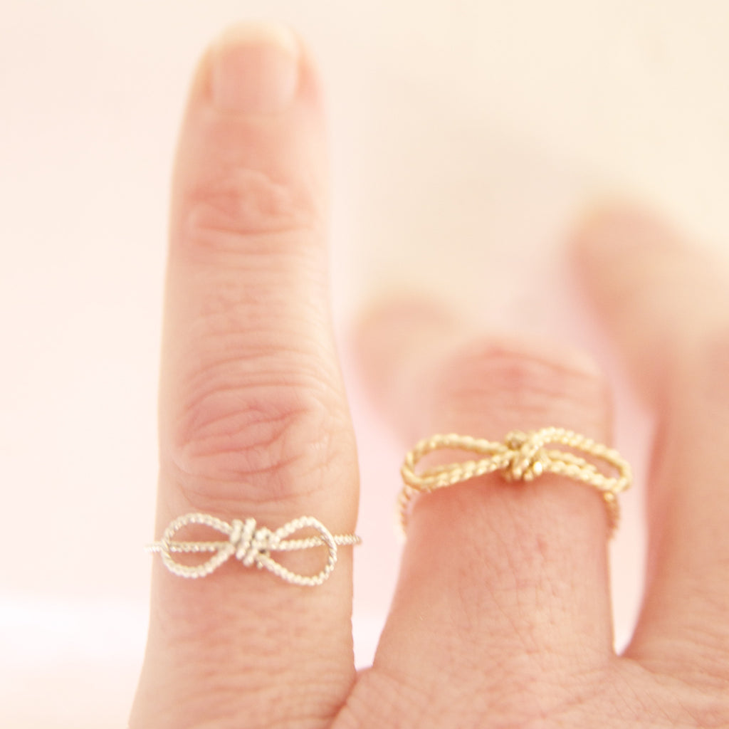 Dainty  Gold Bow Ring/Tie The Knot Rings in  Gold