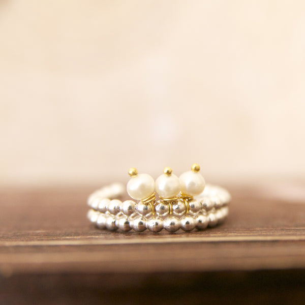 Dainty Sterling Silver Beaded Ring with Tiny Pearl/Pearl and Silver Stacking Rings