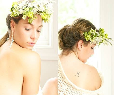 Dainty White and Green Floral Crown