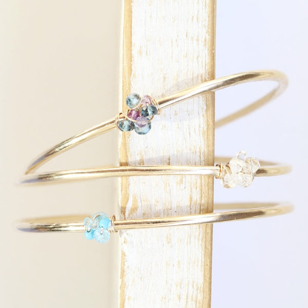 Dainty Gemstone Cuff Bracelets Handcrafted by Bare and Me
