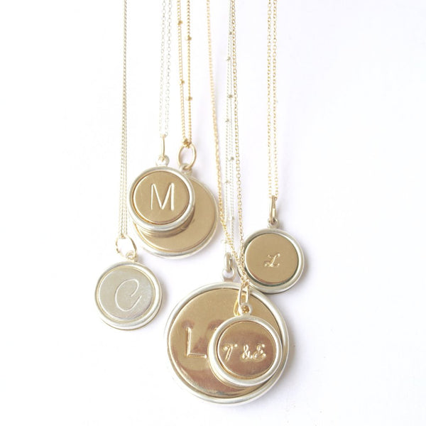 Initial Necklace in Mixed Metal/Initial Jewelry Handcrafted by Bare and Me