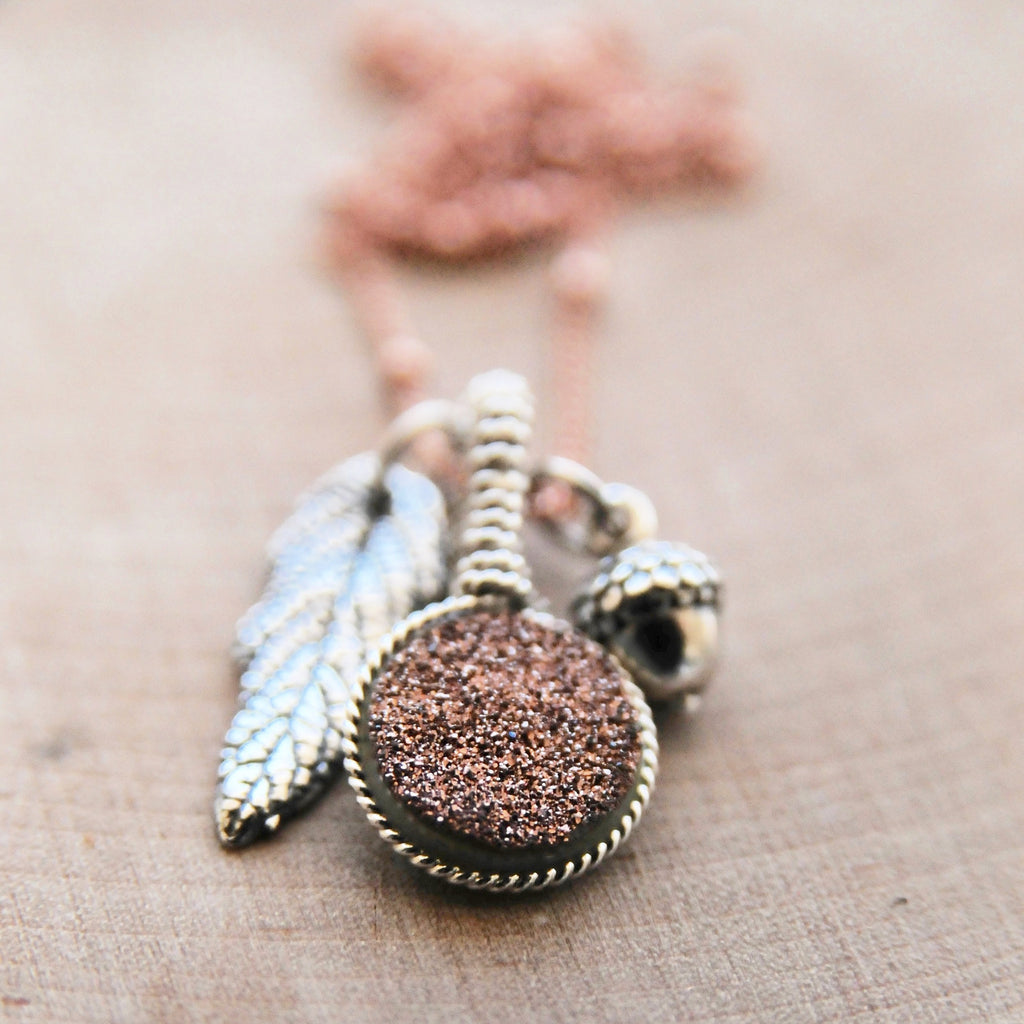 Fall Acorn & Leaf Druzy Charm Necklace