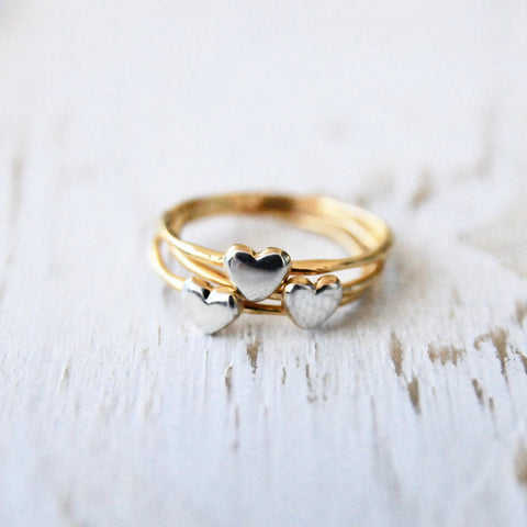 Dainty Heart Band in Gold & Silver