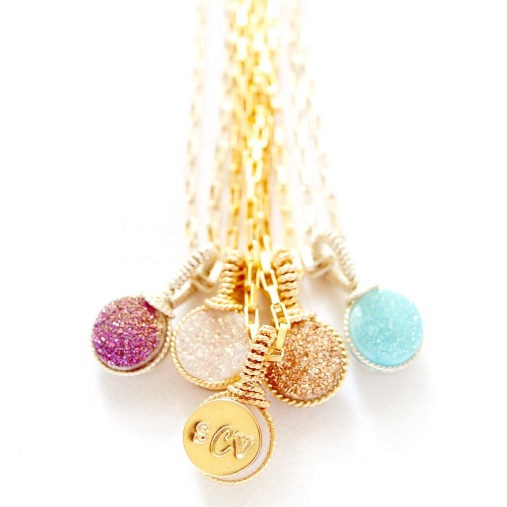 Personalized Druzy Pendants with rectangle chain
