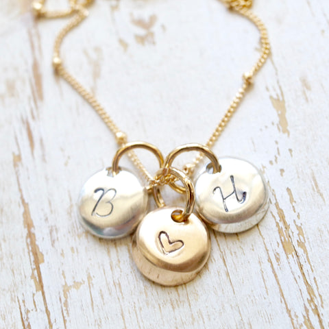 Handmade button initial necklace, Weddings and Bridesmaid Gift Ideas, BFF Jewelry, best friends necklace, love jewelry, bridal jewelry, bride, mothers, mothers day, mothers day gift ideas, gifts, spring birthdays, summer birthdays, bridesmaid gift ides, mothers jewelry handcrafted by bare and me