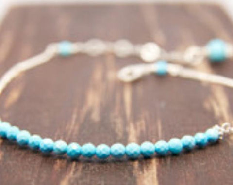 A Dainty Turquoise Bracelet/ Turquoise Dainty Jewelry Handcrafted by Bare and Me