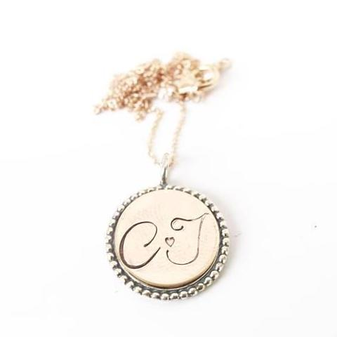 Vintage style personalized pendant jewelry/ Mothers Day gift ideas/ Lover Initial pendant necklace