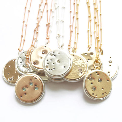 Zodiac Constellation Pendant Necklaces Handcrafted by Bare and Me/ Handcrafted Zodiac Jewelry