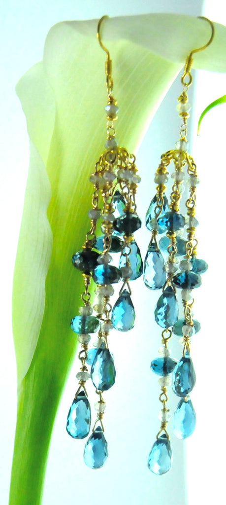 London Blue Topaz Bridal Earrings in 18K Gold Made by Bare and Me