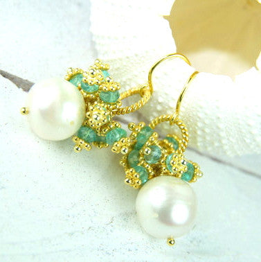 Pearl Crop Cluster Earrings