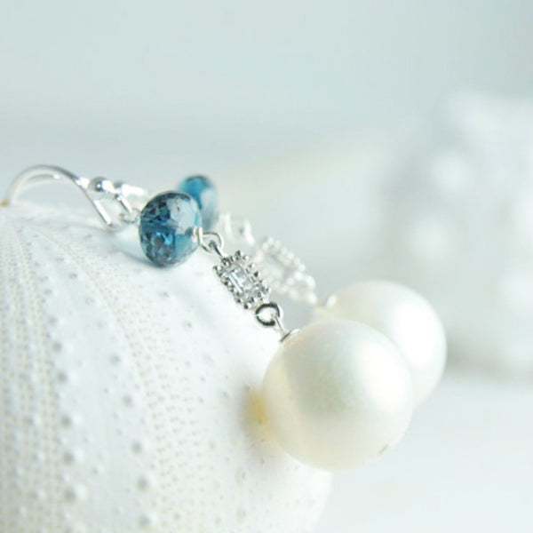 Blue Topaz and White Pearl Earrings