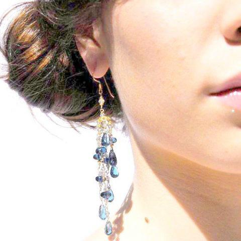 London blue topaz gold tassel earrings handcrafted by bare and me/ something blue bridal earrings/ statement topaz dangle earrings