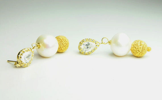 Statement Pearl and Gold Beehive Earrings
