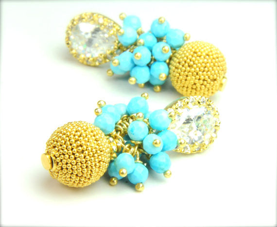 Statement Gold and Turquoise Earring