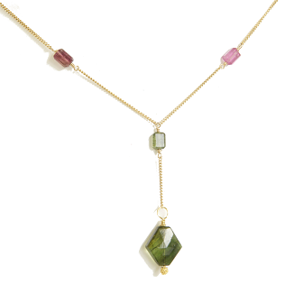 Pink and Army Green Tourmaline Gemstone Necklace Handcrafted by Bare and Me