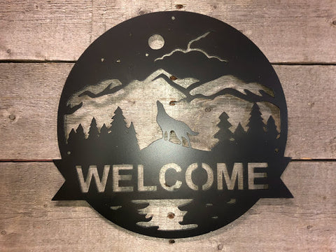 Howling Wolf Welcome Sign