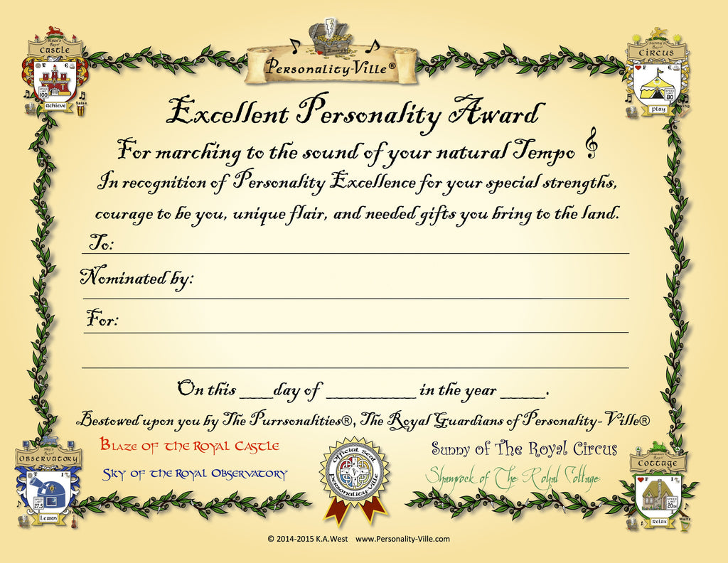award certificate excellent personality fill in the blank 8 x