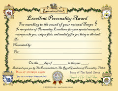 """Excellent Personality"" Award Certificate (Fill-in-the-Blank) 8"" x 10"""