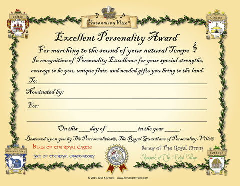"Award Certificate ""Excellent Personality"" (Fill-in-the-Blank) 8"" x 10"""