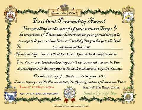 "Award Certificate ""Excellent Personality"" Personalized  8"" x 10"""