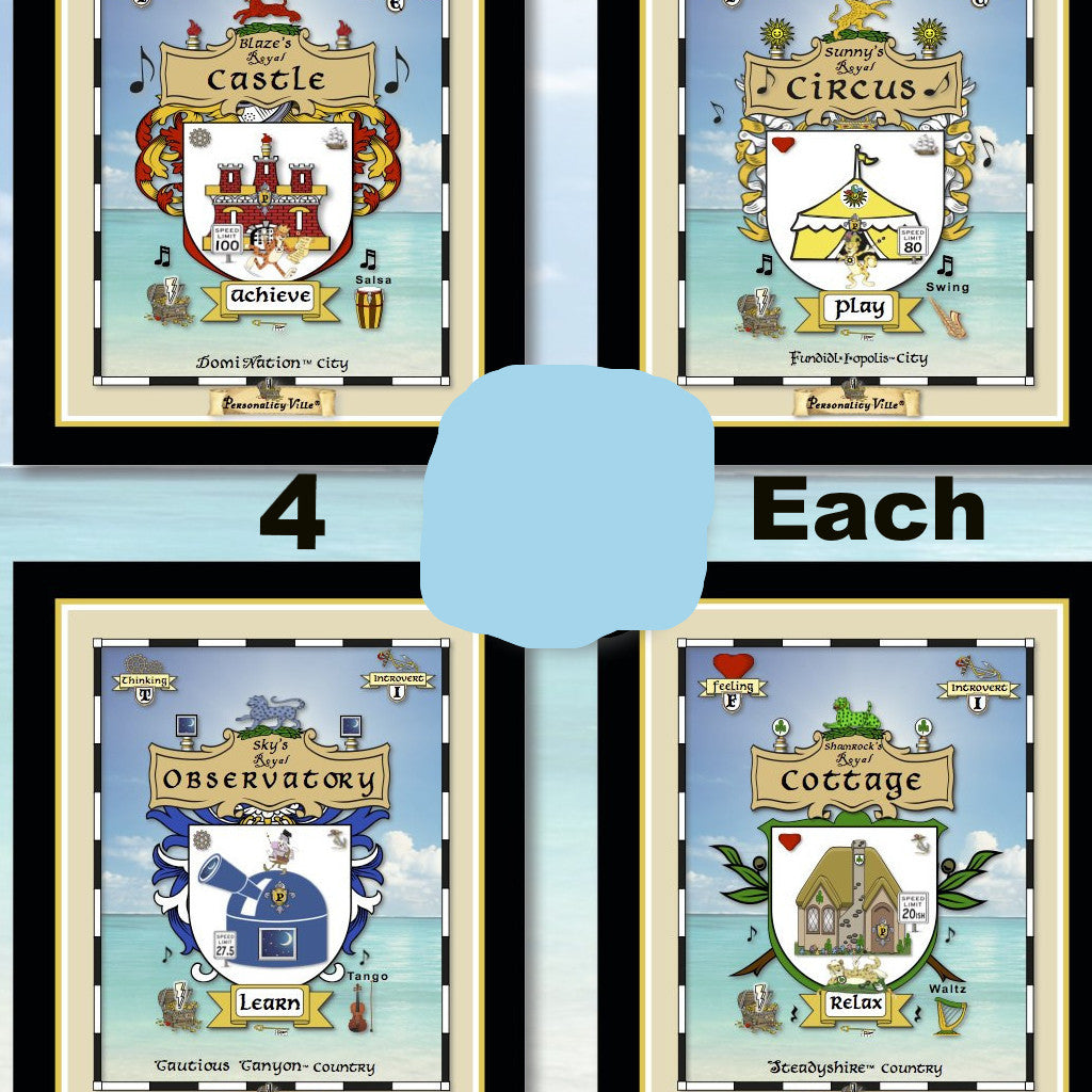 4 Coat-of-Arms Posters (All Personality-Ville Kingdoms)