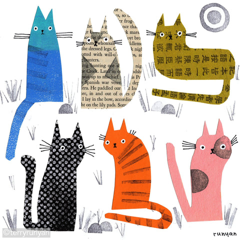 PAPER STAMP CATS