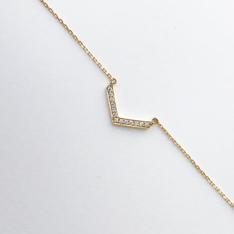 Diamond curved necklace