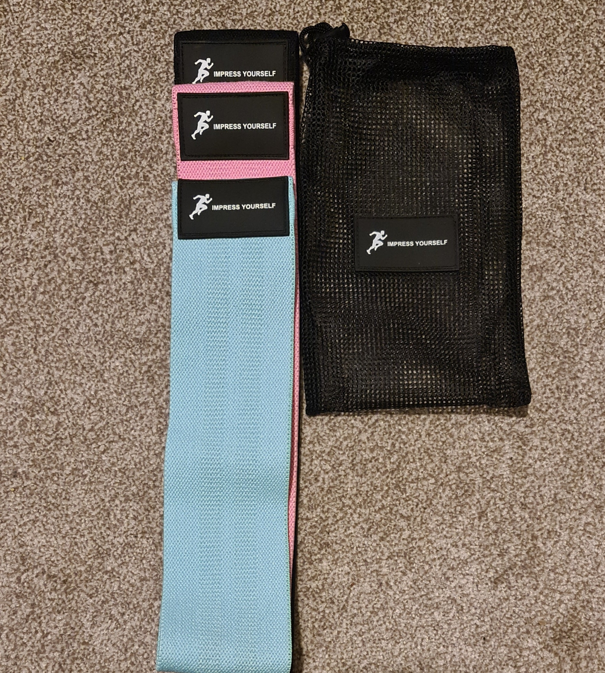 Impress Yourself 3-Piece Fabric Resistance Bands with guide book.