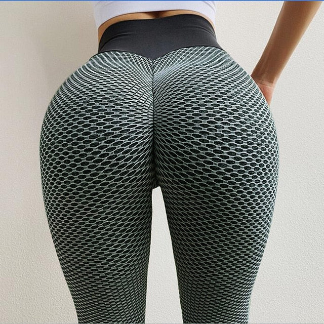Honey comb, Ribbed, Seamless High Waisted Push Up Leggings