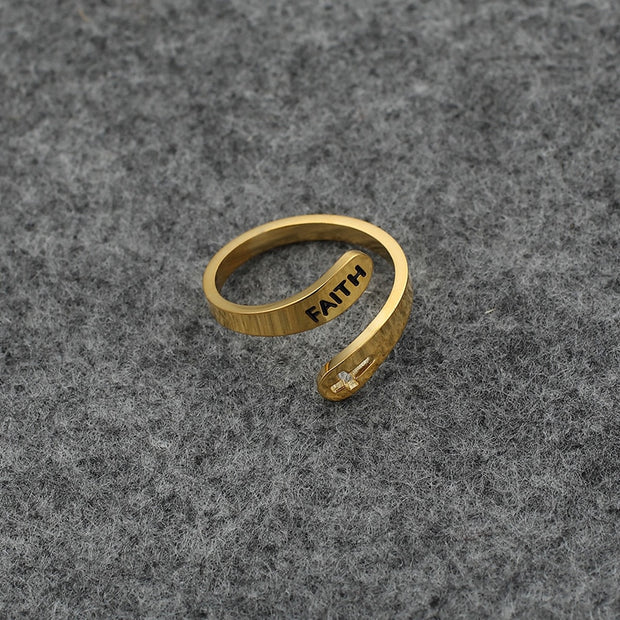 faith adjustable Inspirational Ring