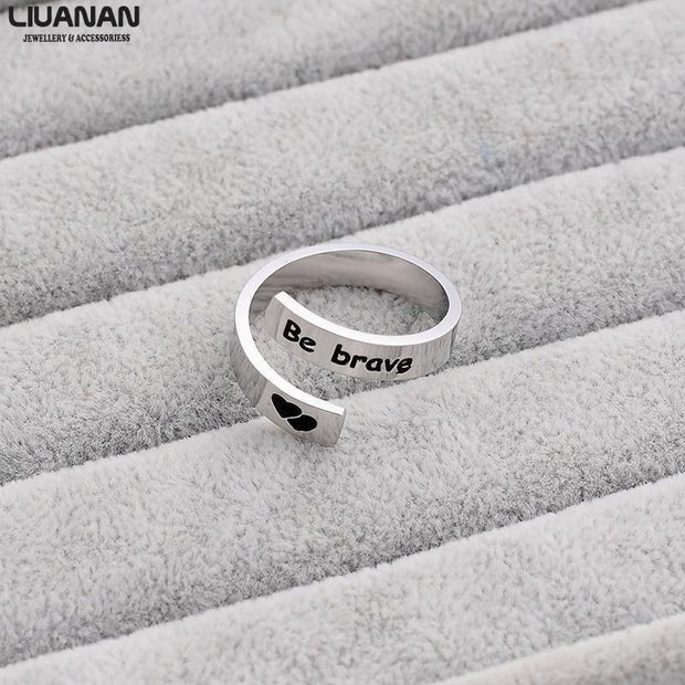 Simple Inspirational Be Brave Ring