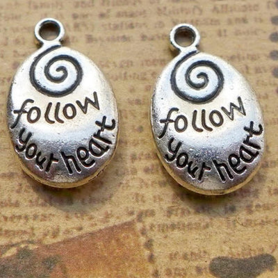 Inspirational Follow Your Heart Charms