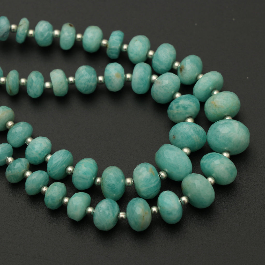 Amazonite Faceted Roundel Beads With Metal Spacer Balls - 4 mm to 11 mm - Amazonite Beads - Gem Quality , 8 Inch Strand, Price Per Strand - National Facets, Gemstone Manufacturer, Natural Gemstones, Gemstone Beads