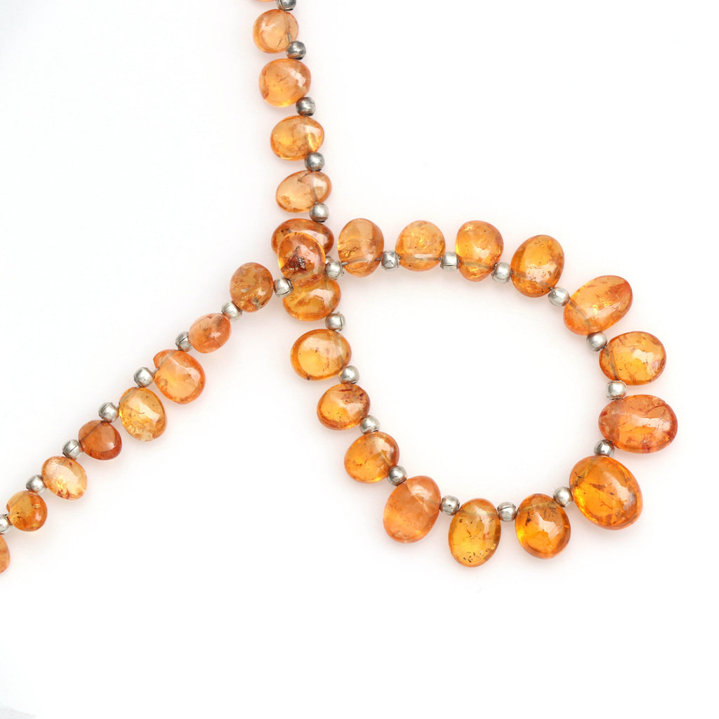 Spessartite Smooth Oval Nuggets Beads- 6x4 mm to 10x7 mm- Spessartite Oval Beads - Gem Quality , 21 Cm Full Strand, Price Per Strand - National Facets, Gemstone Manufacturer, Natural Gemstones, Gemstone Beads