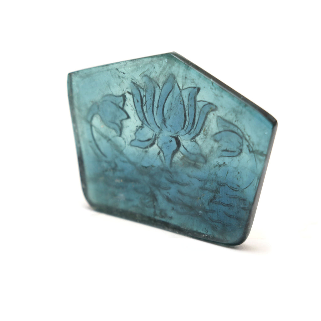 Natural Indicolite Blue Tourmaline Carving Pentagon Loose Gemstone | 40x31x3.5 mm | Indicolite Blue Tourmaline Carving Gemstone | 1 Piece - National Facets, Gemstone Manufacturer, Natural Gemstones, Gemstone Beads