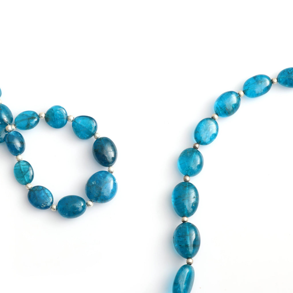 Neon Apatite Smooth Tumble Beads, Apatite Tumble, 7x9 mm to 8x12 mm - Neon Apatite - Gem Quality , 20 Cm Full Strand, Price Per Strand - National Facets, Gemstone Manufacturer, Natural Gemstones, Gemstone Beads