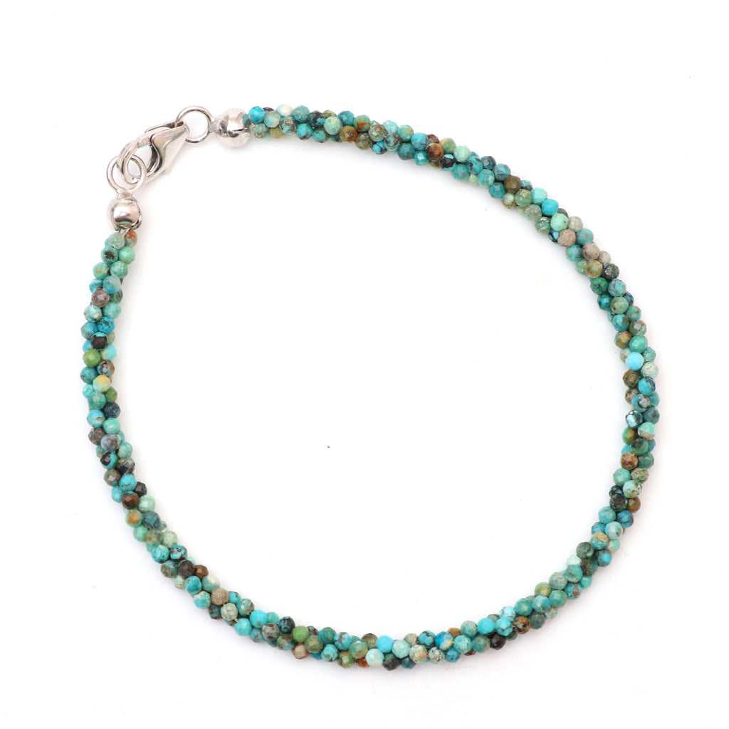 Natural Turquoise Micro Faceted Rondelle Bracelet | 2 mm | 8 Inch Bracelet | 925 Sterling Silver Fish Lock Clasp | Price Per Bracelet - National Facets, Gemstone Manufacturer, Natural Gemstones, Gemstone Beads