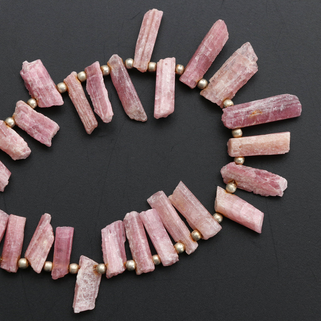Pink Tourmaline Faceted Beads, Nuggets Rough | Pink Tourmaline Nuggets Gemstone | Rough Nuggets Gemstone-Gem Quality, 8 Inch, Price Per - National Facets, Gemstone Manufacturer, Natural Gemstones, Gemstone Beads