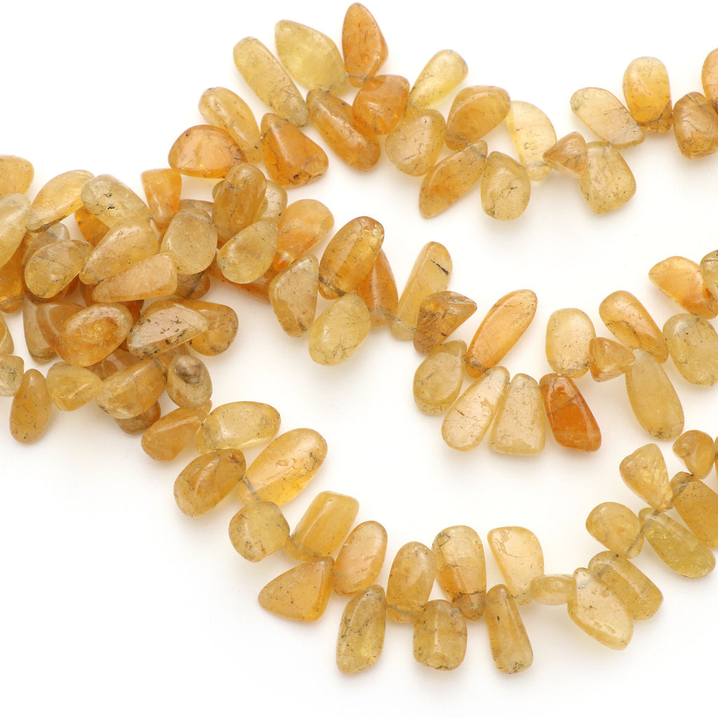 Yellow Aquamarine Smooth Nuggets Beads, 5.5x11 mm to 8x15 mm - Yellow Aquamarine - Gem Quality , 8 Inch/ 20 Cm Full Strand, Price Per Strand - National Facets, Gemstone Manufacturer, Natural Gemstones, Gemstone Beads