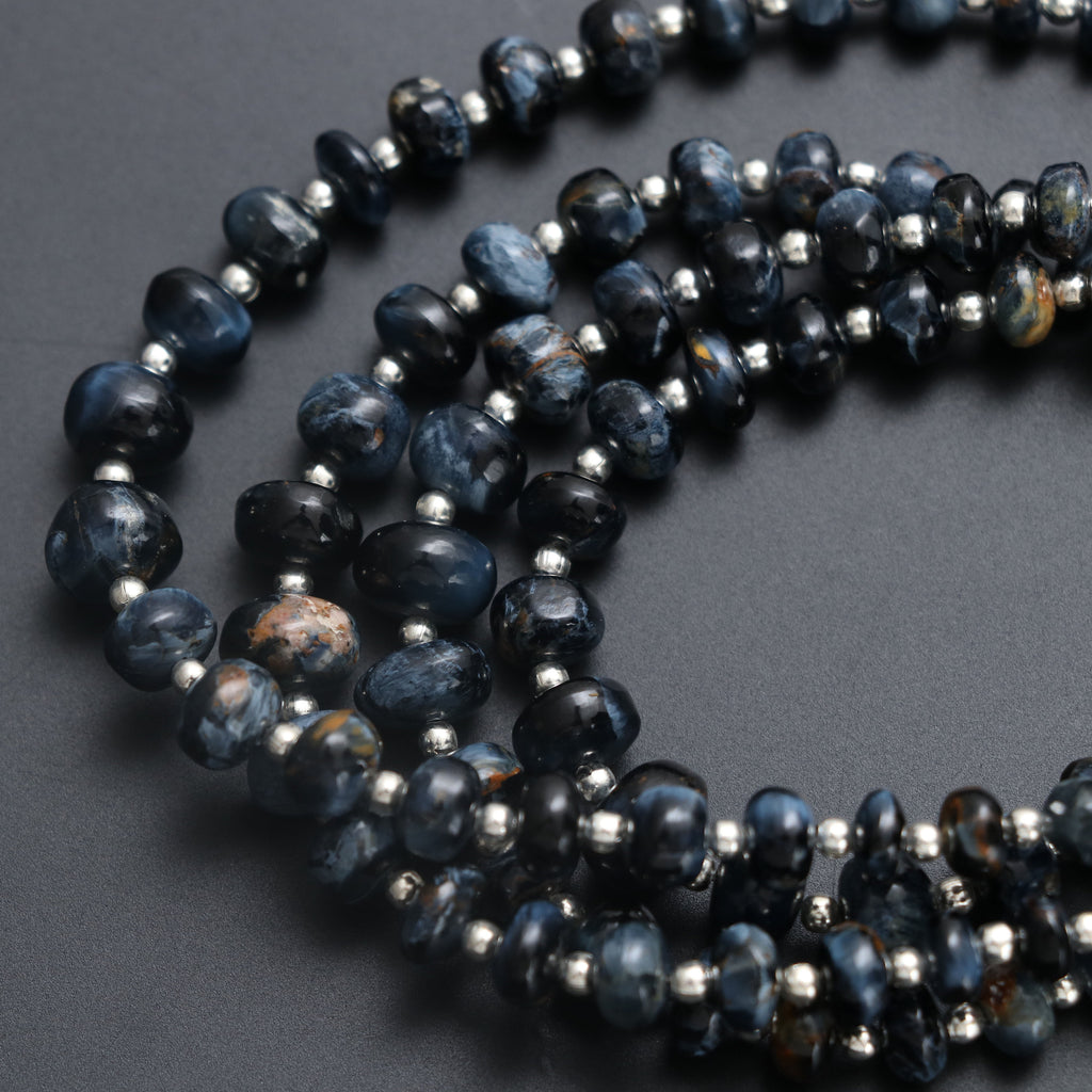 Rare 100% Natural Top Quality Pietersite Smooth Rondelle Beads- 4 mm to 8 mm - Pietersite Gemstone, Gem Quality, 8 Inch, Price Per Strand - National Facets, Gemstone Manufacturer, Natural Gemstones, Gemstone Beads