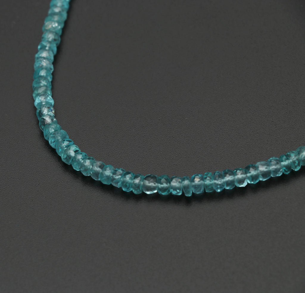 Sky Apatite Faceted Roundel Beads, Apatite Faceted- 4 mm to 4.5 mm - Sky Apatite - Gem Quality , 8 Inch/ 20 Cm Full Strand, Price Per Strand - National Facets, Gemstone Manufacturer, Natural Gemstones, Gemstone Beads