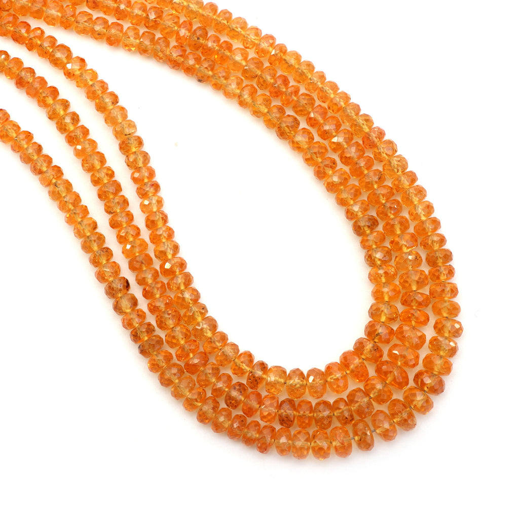 Spessartite Faceted Roundel Beads- 3.5mm to 5mm - Spessartite Roundel Beads - Gem Quality , 8 Inch/16 Inch Full Strand, Price Per Strand - National Facets, Gemstone Manufacturer, Natural Gemstones, Gemstone Beads