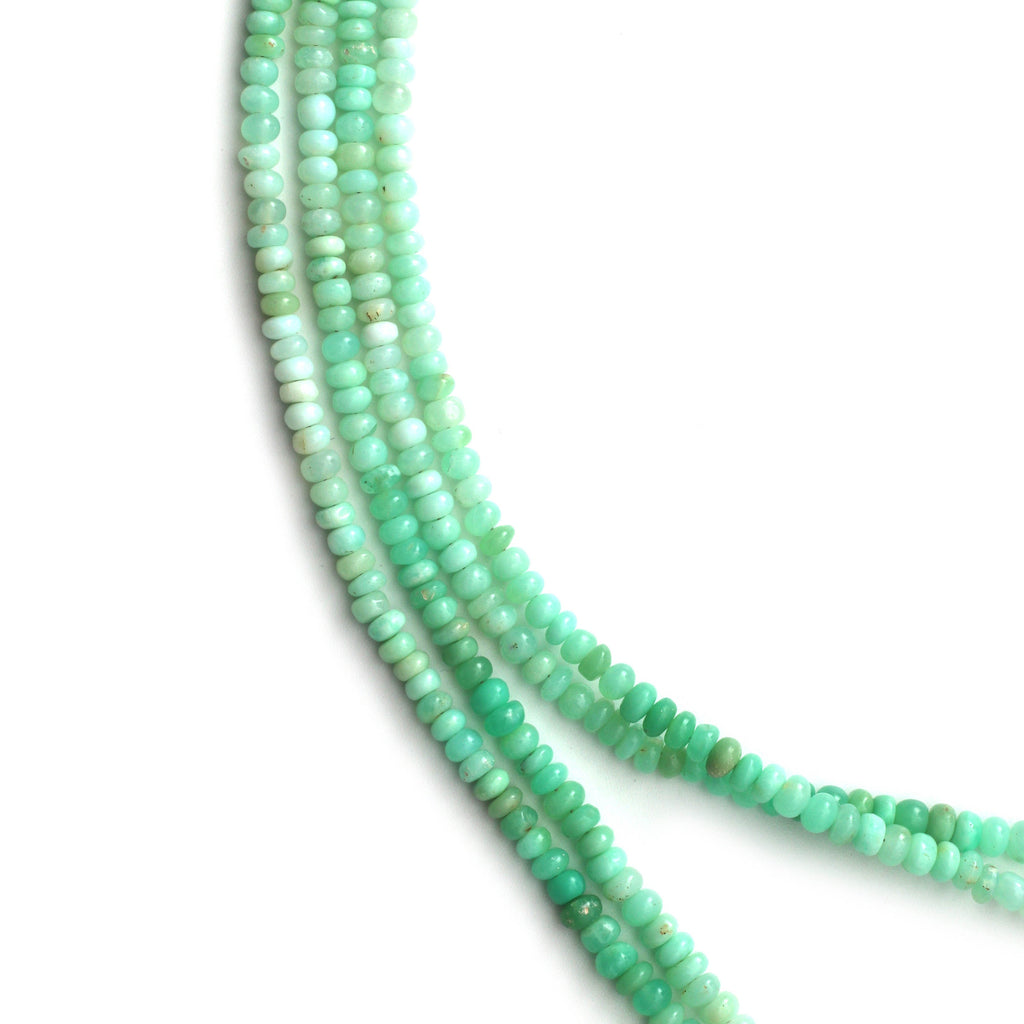 Green Opal Smooth Roundel Shape Beads, 4 mm to 6 mm, Green Opal Beads,- Gem Quality , 8 Inch / 16 Inch Full Strand, Price Per Strand - National Facets, Gemstone Manufacturer, Natural Gemstones, Gemstone Beads