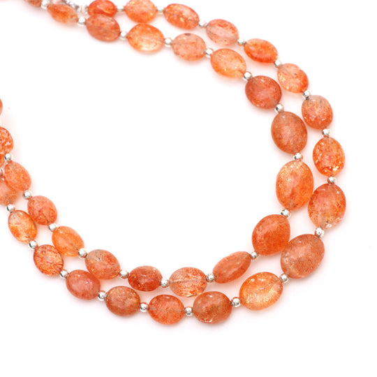 Sunstone Faceted Round Shaped Natural Gemstone Bead-4,6,8,10mm~ 15 inch strand-