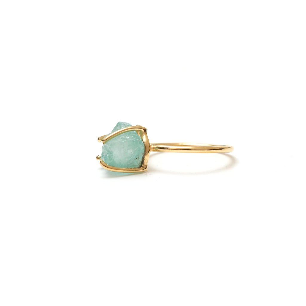 Aquamarine Rough Gemstone Prong Ring, 925 Sterling Silver Gold Plated ,Gift For Her, Set Of 5 Pieces - National Facets, Gemstone Manufacturer, Natural Gemstones, Gemstone Beads