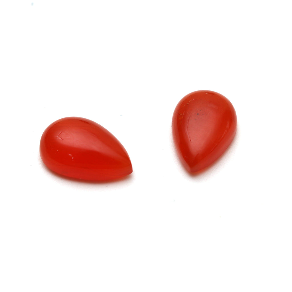 AAA Quality Natural Carnelian Smooth Pear Cabochon Gemstone | 12x18 mm | Gemstone Cabochon | Pair ( 2 Pieces ) - National Facets, Gemstone Manufacturer, Natural Gemstones, Gemstone Beads