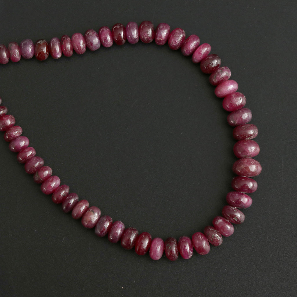 Ruby Smooth Roundel Beads, 5 mm to 8 mm, Ruby Plain Beads - Gem Quality , 8 Inch/ 20 Cm Full Strand, Price Per Strand - National Facets, Gemstone Manufacturer, Natural Gemstones, Gemstone Beads