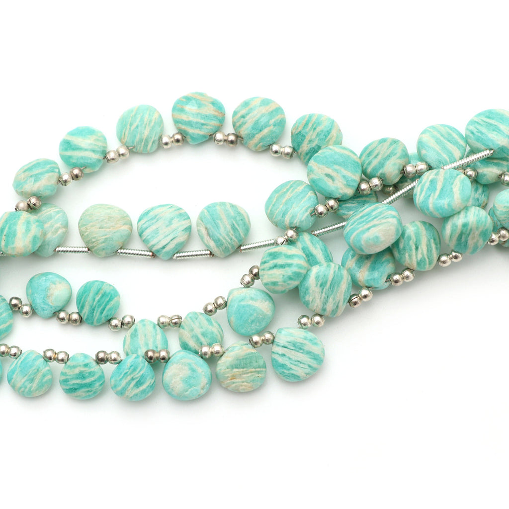 Amazonite Smooth Heart Shape Beads - 6x6 mm to 10x10 mm - Amazonite - Gem Quality , 8 Inch Full Strand, Price Per Strand - National Facets, Gemstone Manufacturer, Natural Gemstones, Gemstone Beads