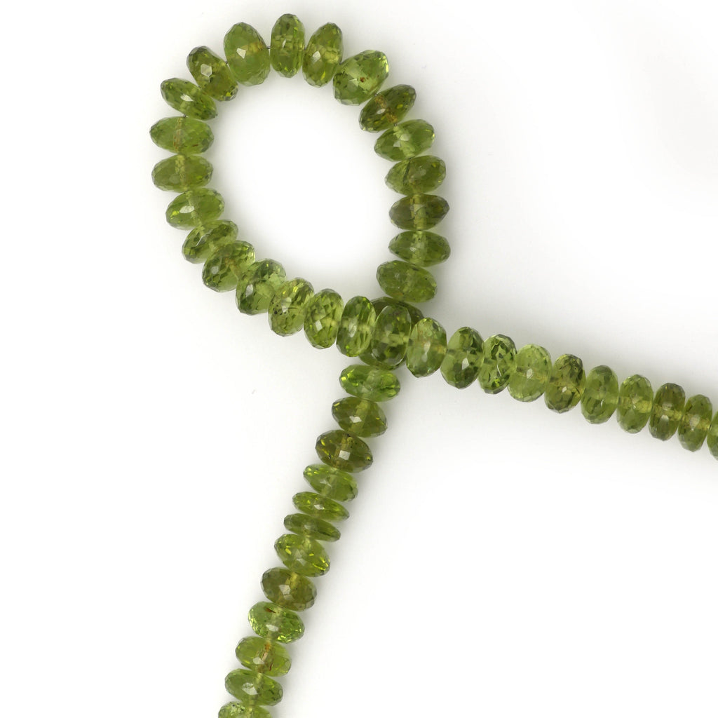 Green Peridot Faceted Beads, Rondelle Beads, Natural Top Quality- 6 mm to 7.5 mm - Peridot Beads - Gem Quality , 8 Inch, Price Per Strand - National Facets, Gemstone Manufacturer, Natural Gemstones, Gemstone Beads
