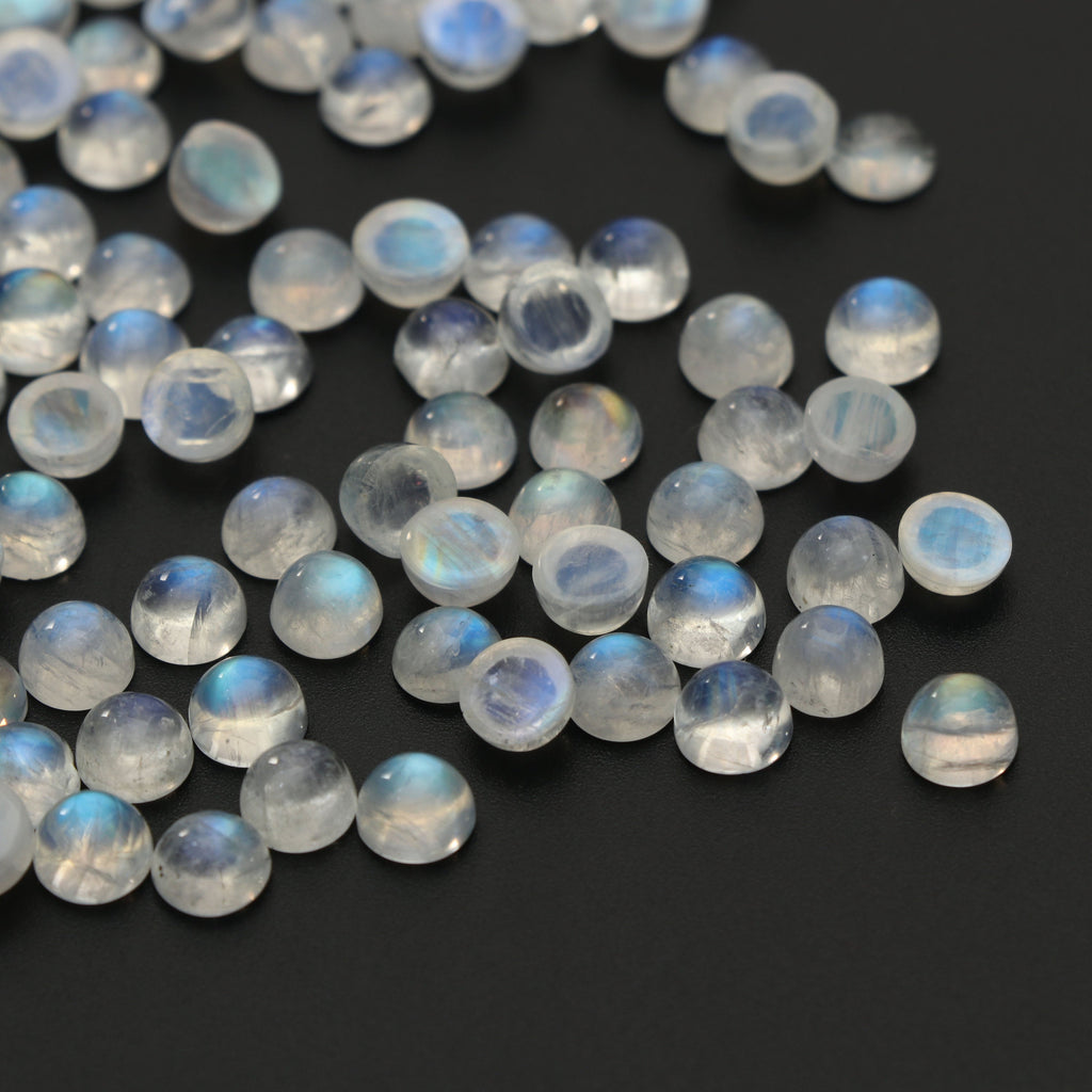 Rainbow Moonstone Round Cabochon Loose Gemstone, 4 mm to 10 mm, Cabochon Gemstone, AA Quality - National Facets, Gemstone Manufacturer, Natural Gemstones, Gemstone Beads